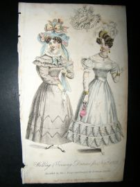 Lady's Monthly Museum 1828 Fashion. Walking & Evening Dresses for Nov.